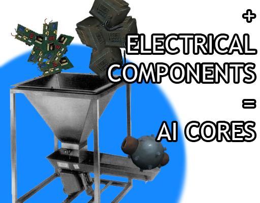 ИИ ядра из ЦПУ и электрических компонентов